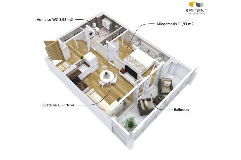 Parduodamas butas Santaikos g. , Vidzgiris, Alytuje, 38.54 kv.m ploto, 2 kambariai